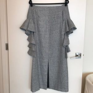 Chicwish grey off shoulder dress w/ ruffle sleeves